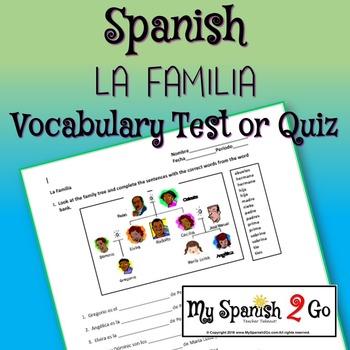 FAMILY:  Spanish Vocabulary--Test or Quiz
