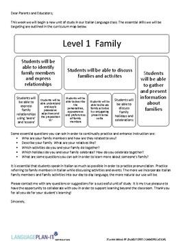 FAMILY UNIT COMMUNICATION (ITALIAN) by LanguagePlan-it | TpT