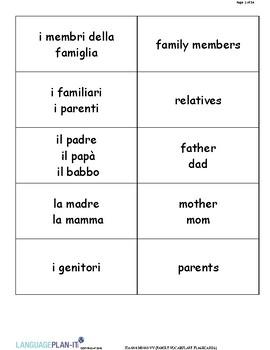 FAMILY VOCABUALRY FLASHCARDS (ITALIAN)