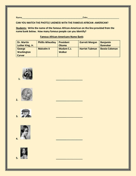 FAMOUS AFRICAN -AMERICAN PHOTO/LIKENESS QUIZ