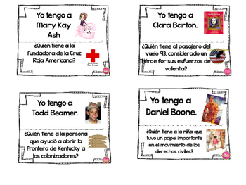 "FAMOUS  AMERICANS ""I HAVE...WHO HAS"" IN SPANISH"