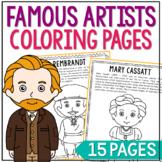 FAMOUS ARTISTS Coloring Pages   Art History   Fine Arts Un