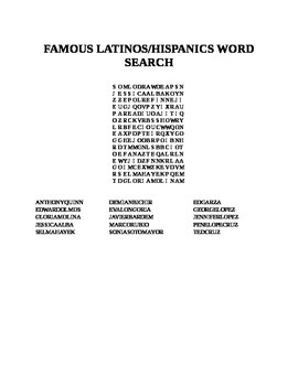 FAMOUS HISPANICS/LATINOS WORD SEARCH