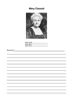 FAMOUS IMPRESSIONISTS BIOGRAPHY BLANK WORKSHEETS