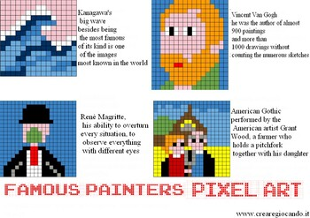 FAMOUS PAINTERS, 4 SHEETS WITH COLORS CODES