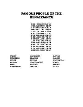 FAMOUS PEOPLE OF THE RENAISSANCE WORD SEARCH
