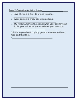 FAMOUS QUOTES ACTIVITY W/ANSWER KEY GRADES 4-8