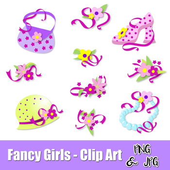 FANCY GIRL SET- CLIP ART- Girls Accessories - PNG and JPG files