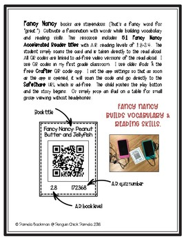 FANCY NANCY Accelerated Reader Listening Center QR Codes * 51 VOCAB-RICH Titles