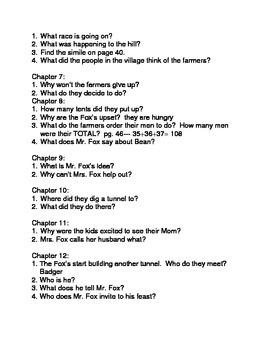FANTASTIC MR. FOX comprehension questions/test/acrostic poem