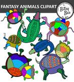 FREEBIE FANTASY ANIMALS CLIP ART.