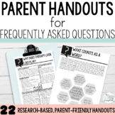 FAQ Parent Handouts for Early Intervention Speech Therapy-