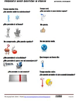 FAQ in Spanish Class Bookmark or Notebook Sheet