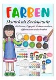 FARBEN - Deutsch, beginner German reading, writing + colours, Malen