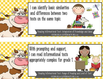 "FARM - 1st Grade Common Core Standards ""I CAN"" format / posters"