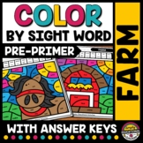 FARM ANIMALS ACTIVITY READ & COLOR BY SIGHT WORDS WORKSHEETS FALL COLORING PAGES