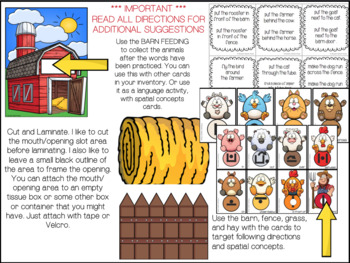 FARM ANIMALS  ARTICULATION  SPEECH  worksheets SPATIAL CONCEPTS LOW PREP NO PREP
