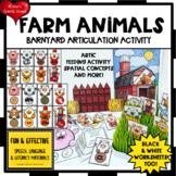 FARM ANIMALS  ARTICULATION  SPEECH  worksheets SPATIAL CON