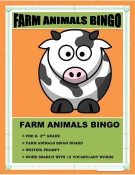 FARM ANIMALS BINGO-Pre K -2nd Grade- Language Arts