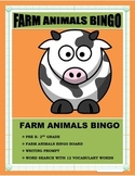 FARM ANIMALS BINGO-Pre K -2nd Grade- Language Arts