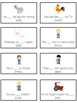 FARM ANIMALS Inflectional Word Endings - ELA First Grade Game - Word Work Center