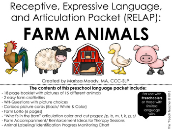FARM ANIMALS- Receptive, Expressive Language, and Articulation Packet (RELAP):