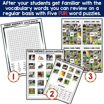 Farm Animals Worldwide : 5 Different Word puzzles and 30 Photo Flash Cards