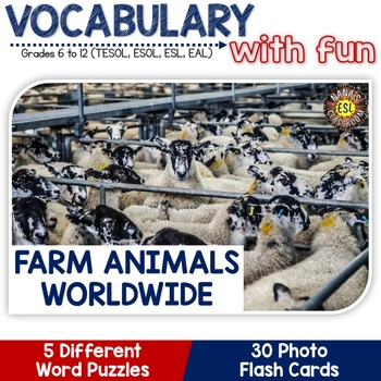 Farm Animals Worldwide 5 Word Puzzles and 30 Photo Flash Cards BUNDLE for ESL