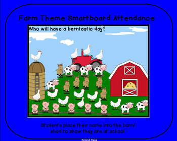 FARM ANIMALS theme smartboard ATTENDANCE file