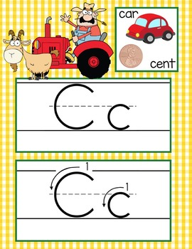 FARM - Alphabet Cards, Handwriting, ABC Flash Cards, ABC print with pictures