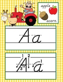 FARM - Alphabet Cards, Handwriting, D'Nealian, ABC cards with pictures