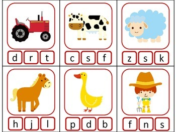 FARM ELA CENTER Phonics GAMES - beginning/middle/ending sounds