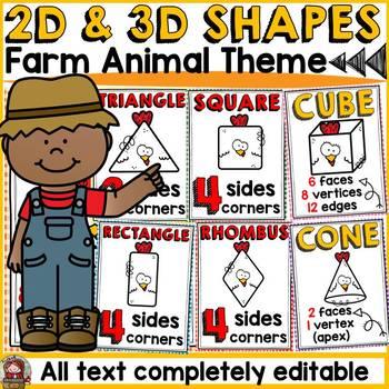 FARM CLASS DECOR: EDITABLE 2D AND 3D SHAPES