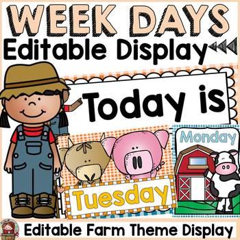 FARM CLASS DECOR: EDITABLE DAYS OF THE WEEK DISPLAY