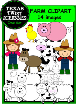 FARM CLIP ART with 14 pieces including black & white versions