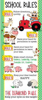 FARM - Classroom Decor: LARGE BANNER, School Rules, Whole Brain Teaching Rules