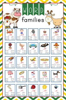 FARM - Classroom Decor: Language Arts, Word Families POSTER - size 24 x 36