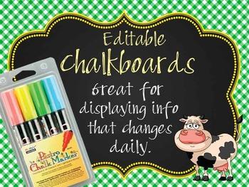 FARM - Classroom Decor: editable chalkboard POSTERS / Bist