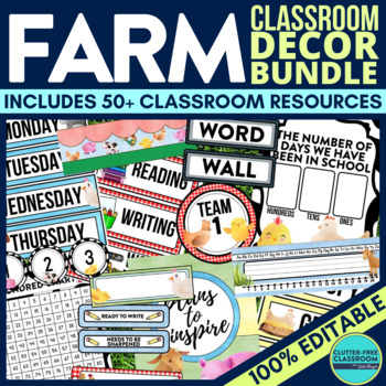 FARM THEME Classroom Decor - EDITABLE Clutter-Free Classro