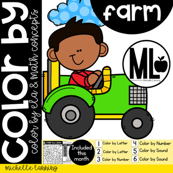 FARM-COLOR BY- Math and ELA concepts - PRE-K & Kinder