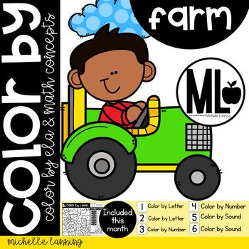 FARM Color by Math and ELA concepts - PRE-K & Kinder