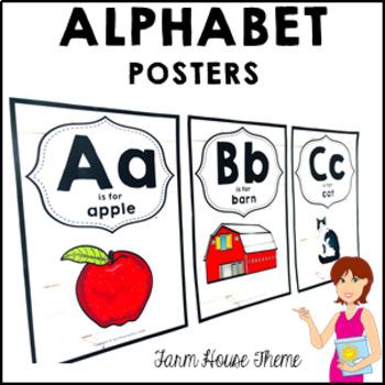 FARM HOUSE Classroom Decor Alphabet Posters