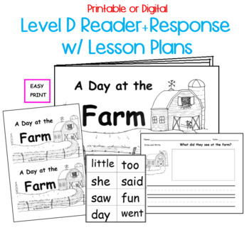 Guided Reading Level D Emergent Printable Book and Lesson Plan:  Farm