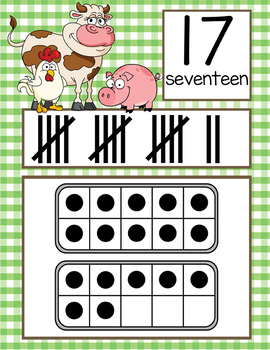 FARM - Number Line Banner, 0 to 20, Illustrated, ten frames, tally marks