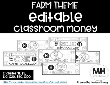 FARM THEME - Classroom Money - EDITABLE