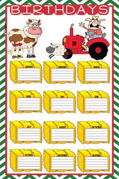 FARM theme - Classroom Decor: Happy Birthday - size 24 x 36 poster