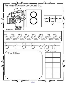 Farm Number Practice Printables - Recognition, Tracing, Counting 1-20