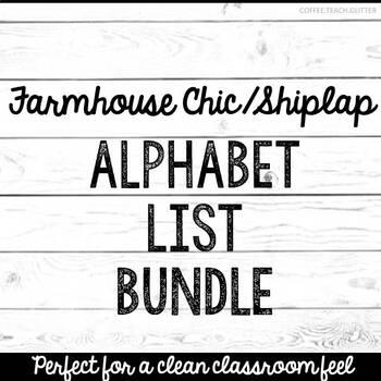 FARMHOUSE CHICH & SHIPLAP Cursive & Print Alphabet