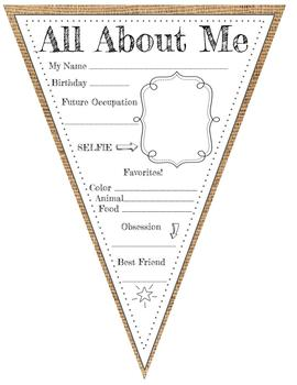 FARMHOUSE CLASSROOM DECOR ALL ABOUT ME PENNANT Rustic Chic