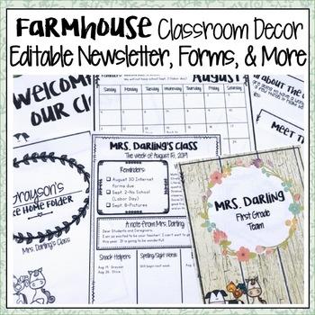 FARMHOUSE CLASSROOM DECOR EDITABLE MEET THE TEACHER, CALENDAR, AND NEWSLETTER